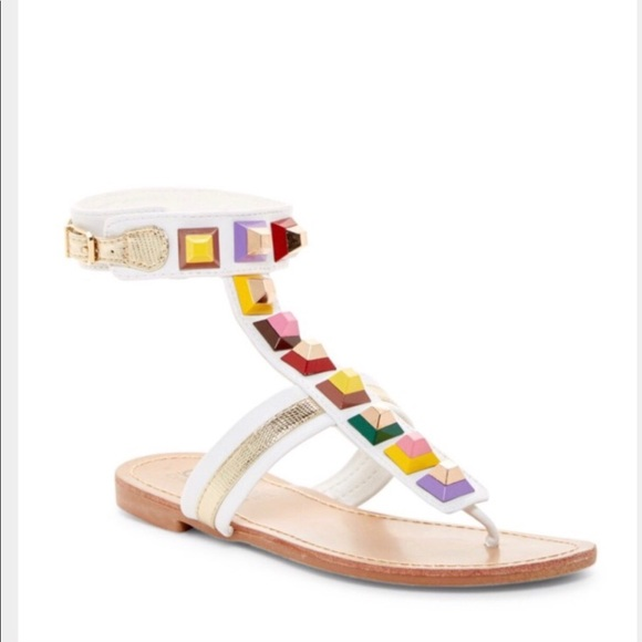 69a34327467 NWT Catherine M. studded white thong sandals